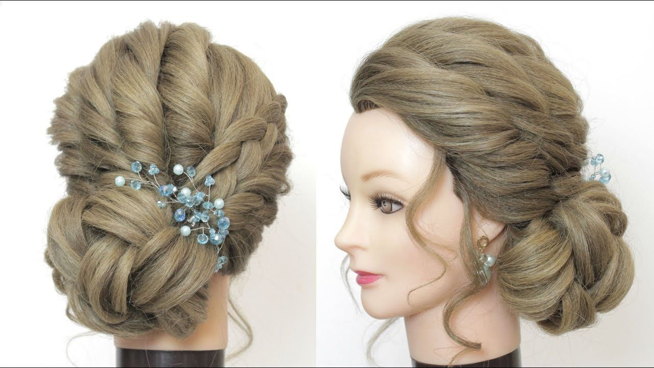Popular Side Bun Prom Hairstyles With Black Feathers In New Low Side Bun For Prom, Wedding, Party. Updo Hairstyles Tutorial (Gallery 5 of 20)