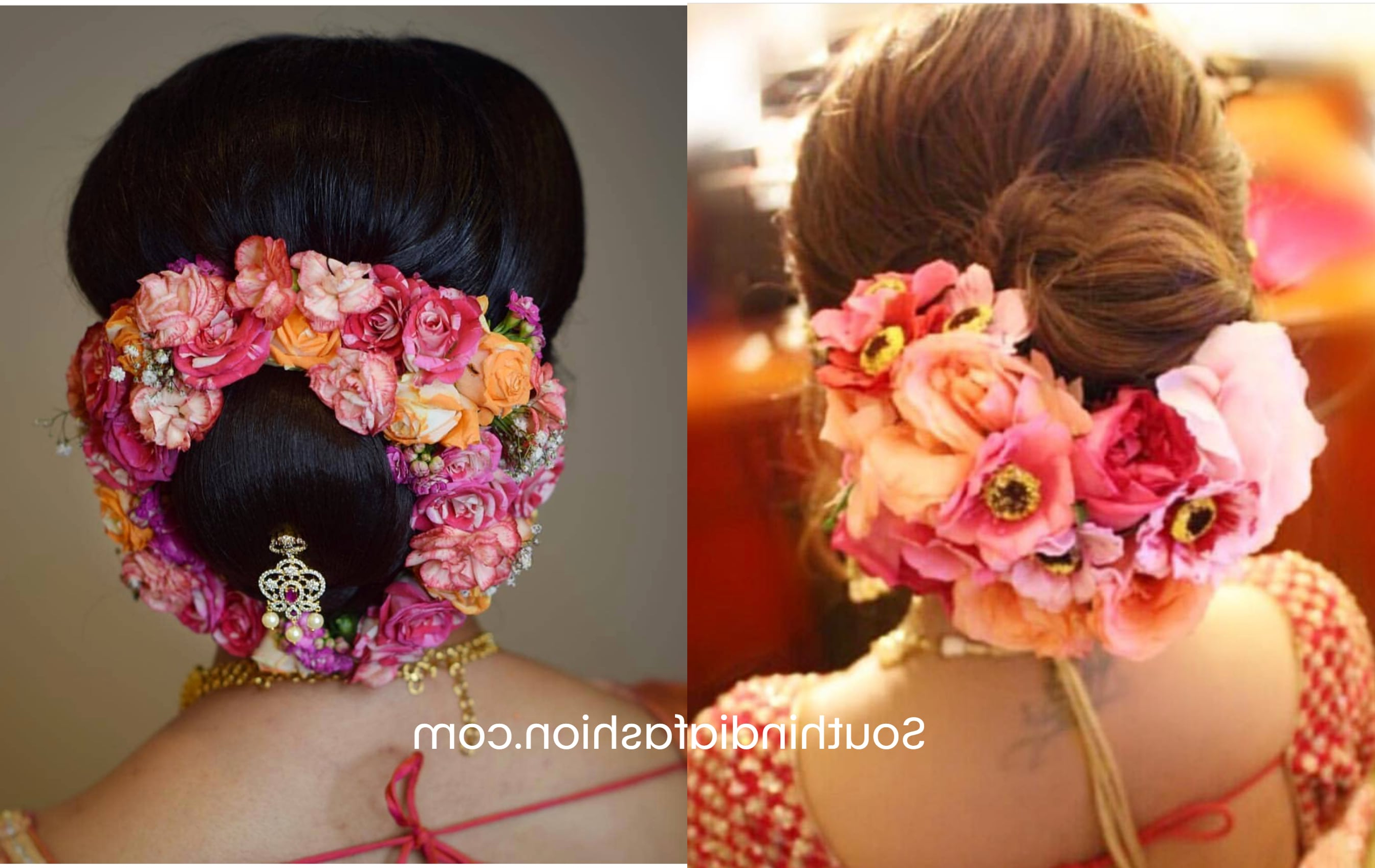 Popular Side Bun Prom Hairstyles With Orchids Pertaining To Indian Wedding Bun Hairstyle With Flowers And Gajra! (View 13 of 20)