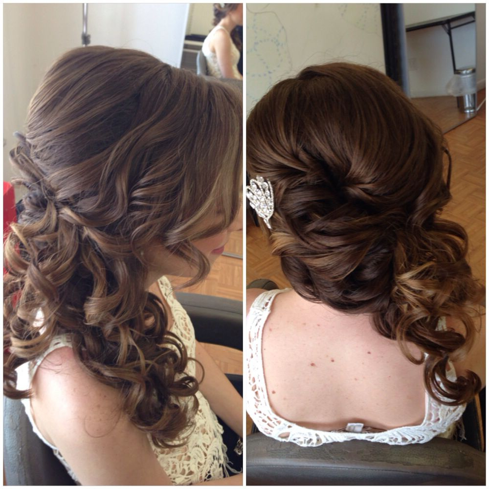Preferred Side Swept Brunette Waves Hairstyles For Prom Within Bridal Hair, Wedding Hair, Side Swept Updo, Side Ponytail, Curly (Gallery 7 of 20)