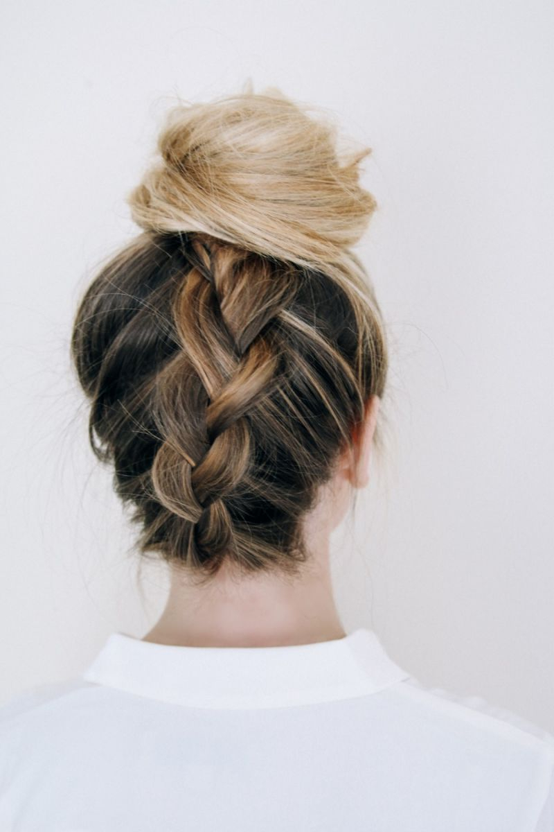 Preferred Upside Down Braid And Bun Prom Hairstyles For 10 No Heat Hairstyles – The Everygirl (View 13 of 20)