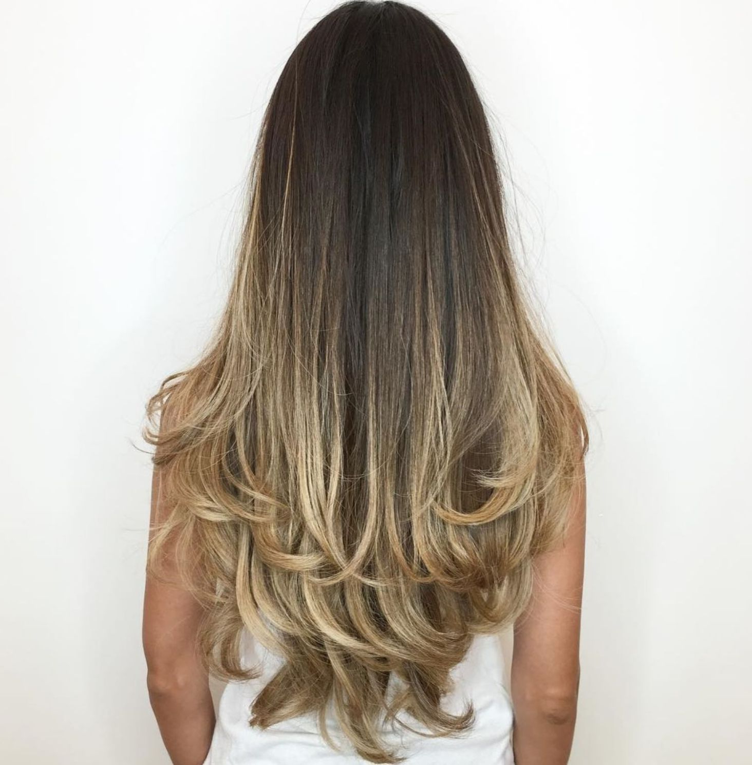 Featured Photo of Long Dark Hairstyles With Blonde Contour Balayage