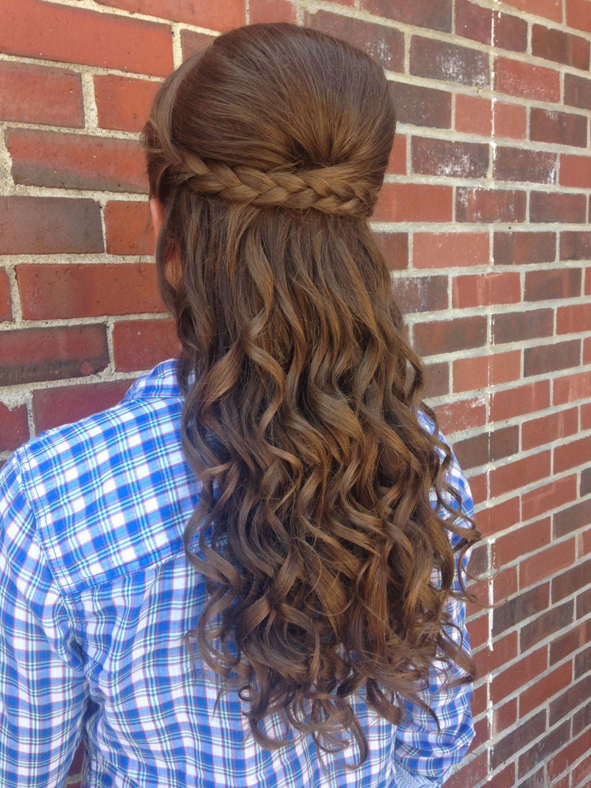 Prom Hair * Half Up Half Down * Curly Braided Bump Romantic Updo Throughout Most Popular Curly Half Updo With Ponytail Braids (View 17 of 20)