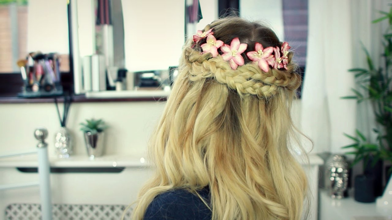 Prom Hair Tutorial: Floral Braided Crown With Clip In Hair With Regard To Most Recently Released Floral Braid Crowns Hairstyles For Prom (View 17 of 20)