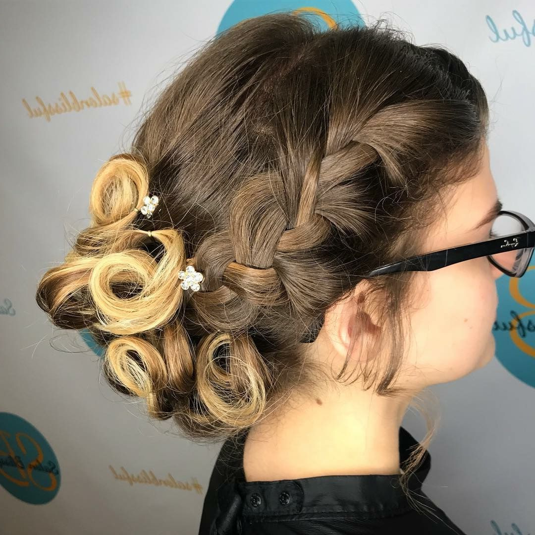 Prom Updo Subtle Accent Brain Into A Bun Of Pinned Curls (View 8 of 20)