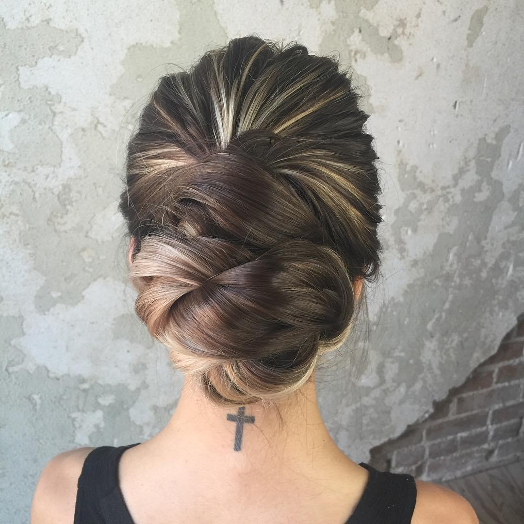 Prom Updos Archives – Trubridal Wedding Blog Pertaining To Best And Newest Bun And Three Side Braids Prom Updos (Gallery 14 of 20)