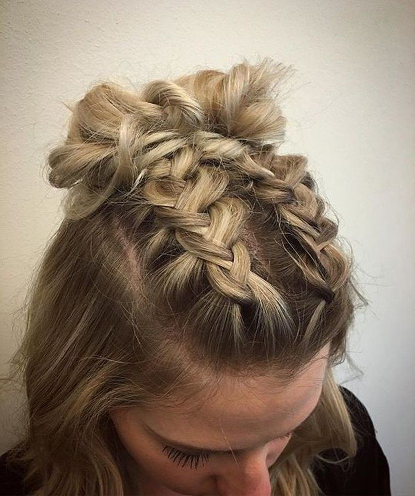 Recent Braid Spikelet Prom Hairstyles With Trend Watch – Mohawk Braid Into Top Knot Half Up Hairstyles (View 6 of 20)