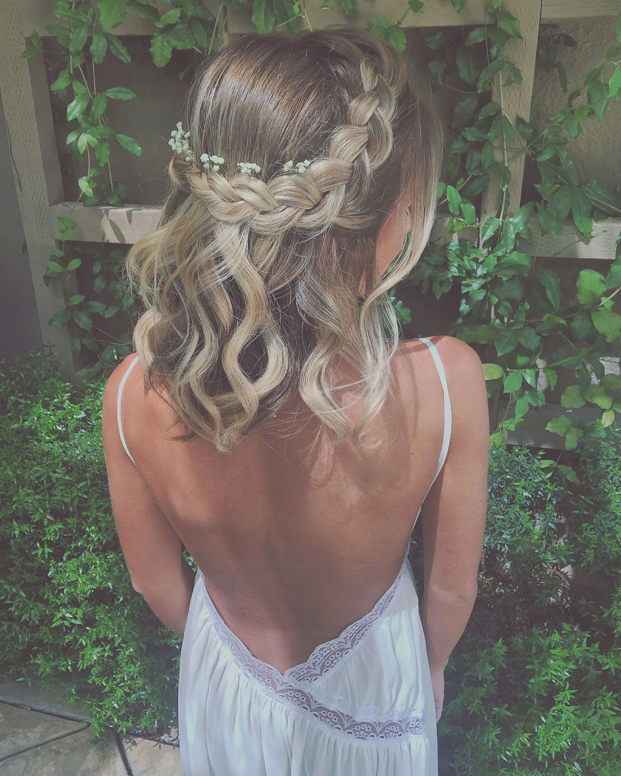 Recent Tangled Braided Crown Prom Hairstyles With Regard To Braided Crown With Baby's Breath Flowers #promhairstyles (Gallery 1 of 20)