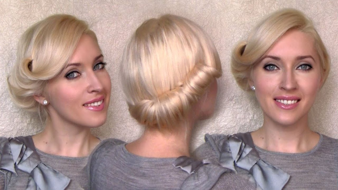 Side Swept Rolled Updo Hairstyle For Medium Short Hair Tutorial In Most Recently Released Twisted Side Roll Prom Updos (View 11 of 20)