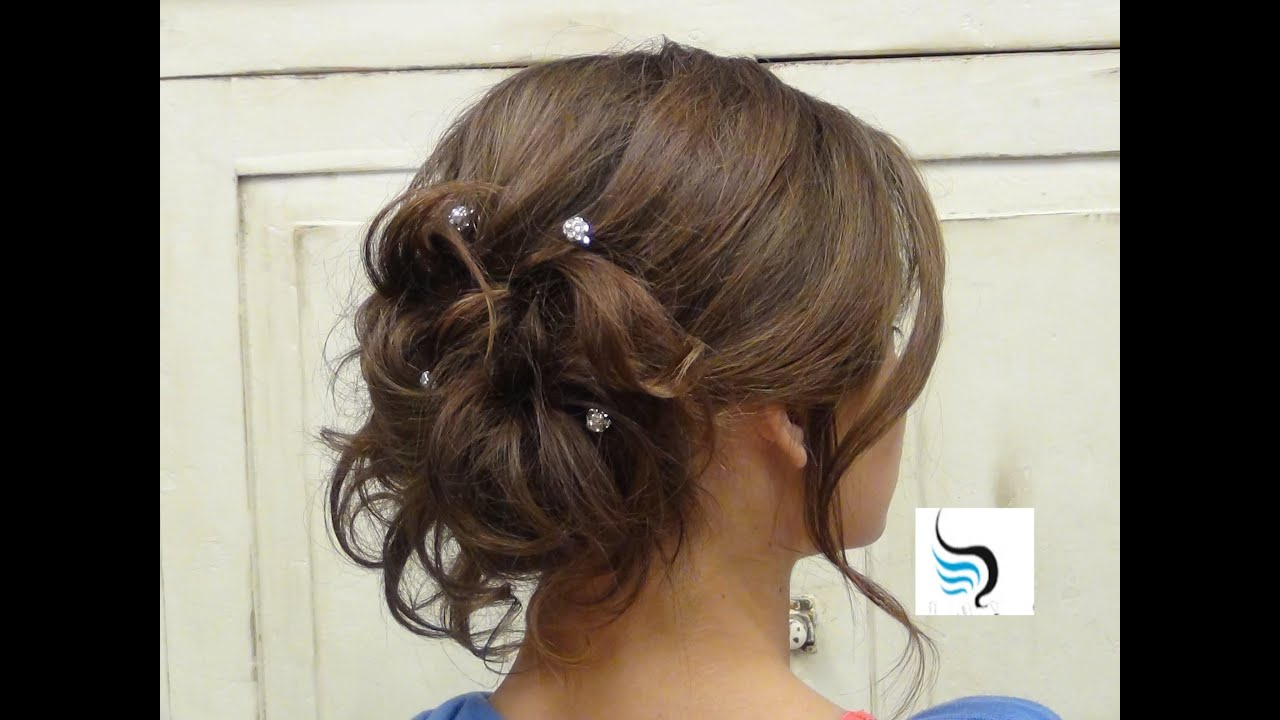 Soft Curled Updo) For Long Hair Prom Or Wedding Hairstyles – Youtube Regarding Most Popular Messy Bun Prom Hairstyles With Long Side Pieces (View 4 of 20)