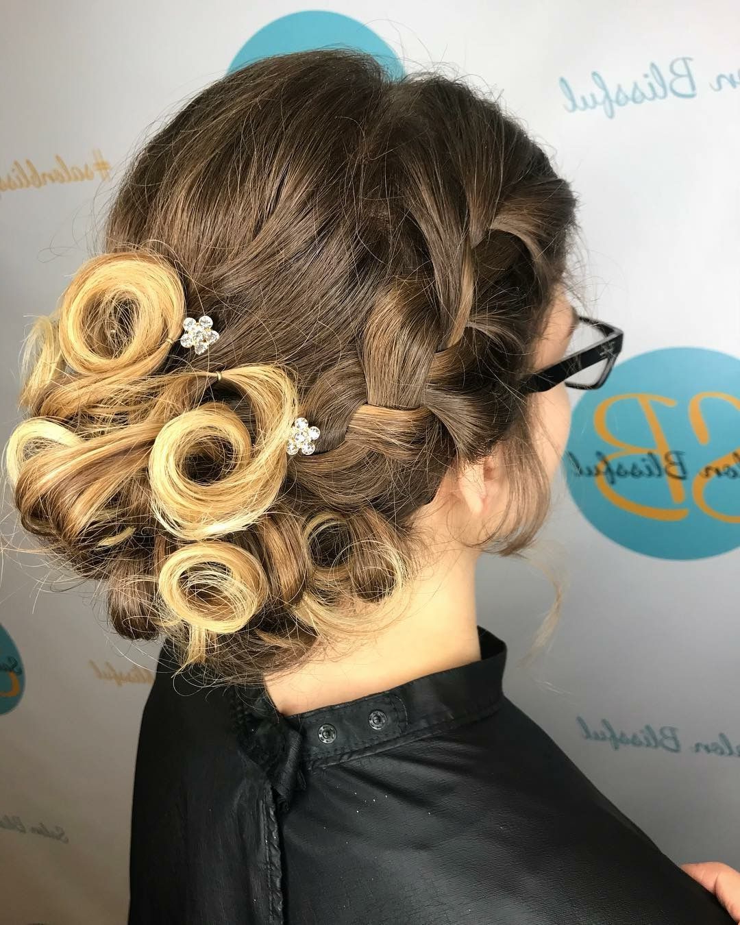 Trendy Accent Braid Prom Updos With Regard To Prom Updo Subtle Accent Braid Into A Bun Of Pinned Curls (View 10 of 20)