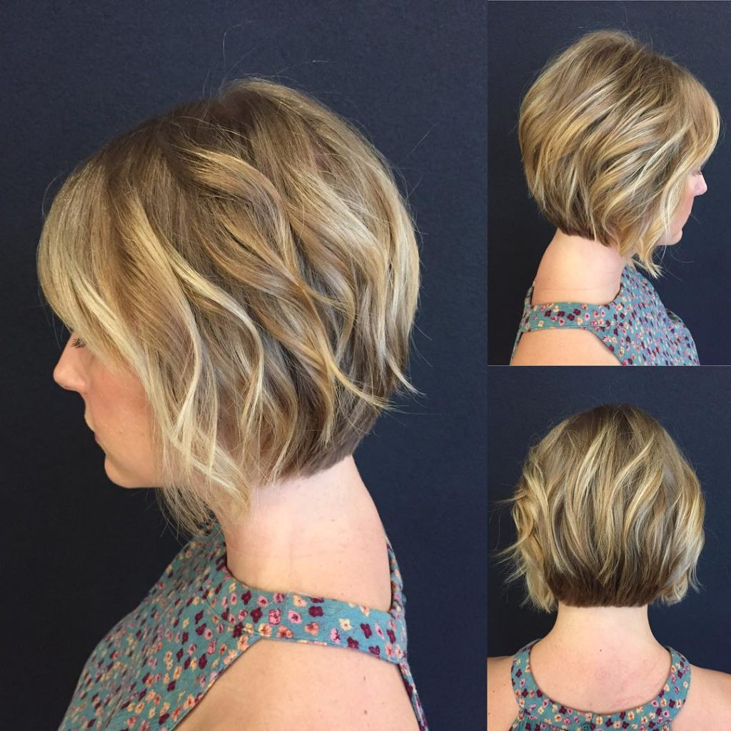 Trendy Blonde Textured Haircuts With Angled Layers Intended For Women's Blonde Stacked Angled Bob With Added Wavy Texture Short (View 17 of 20)