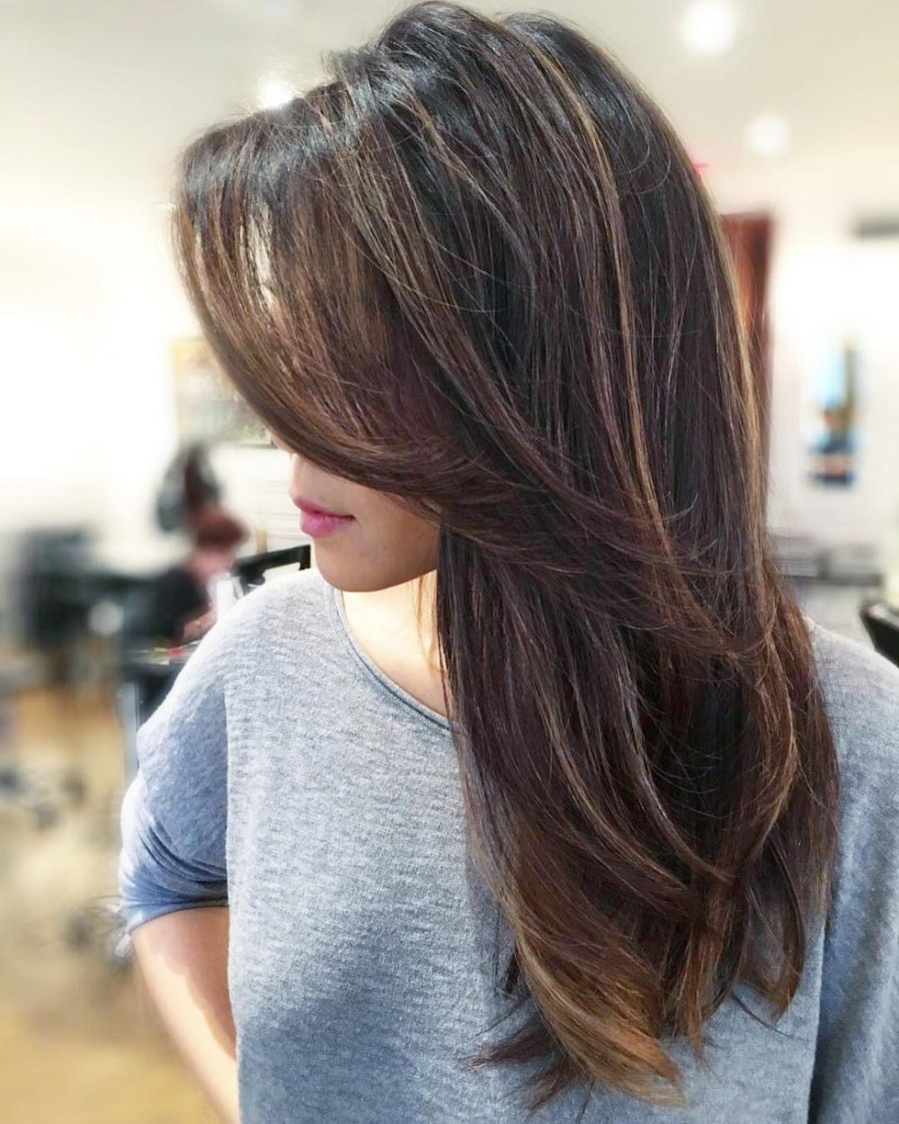 Trendy Mid Back Brown U Shaped Haircuts With Swoopy Layers In Side Swept Bangs: 46 Ideas That Are Hot In (View 11 of 20)