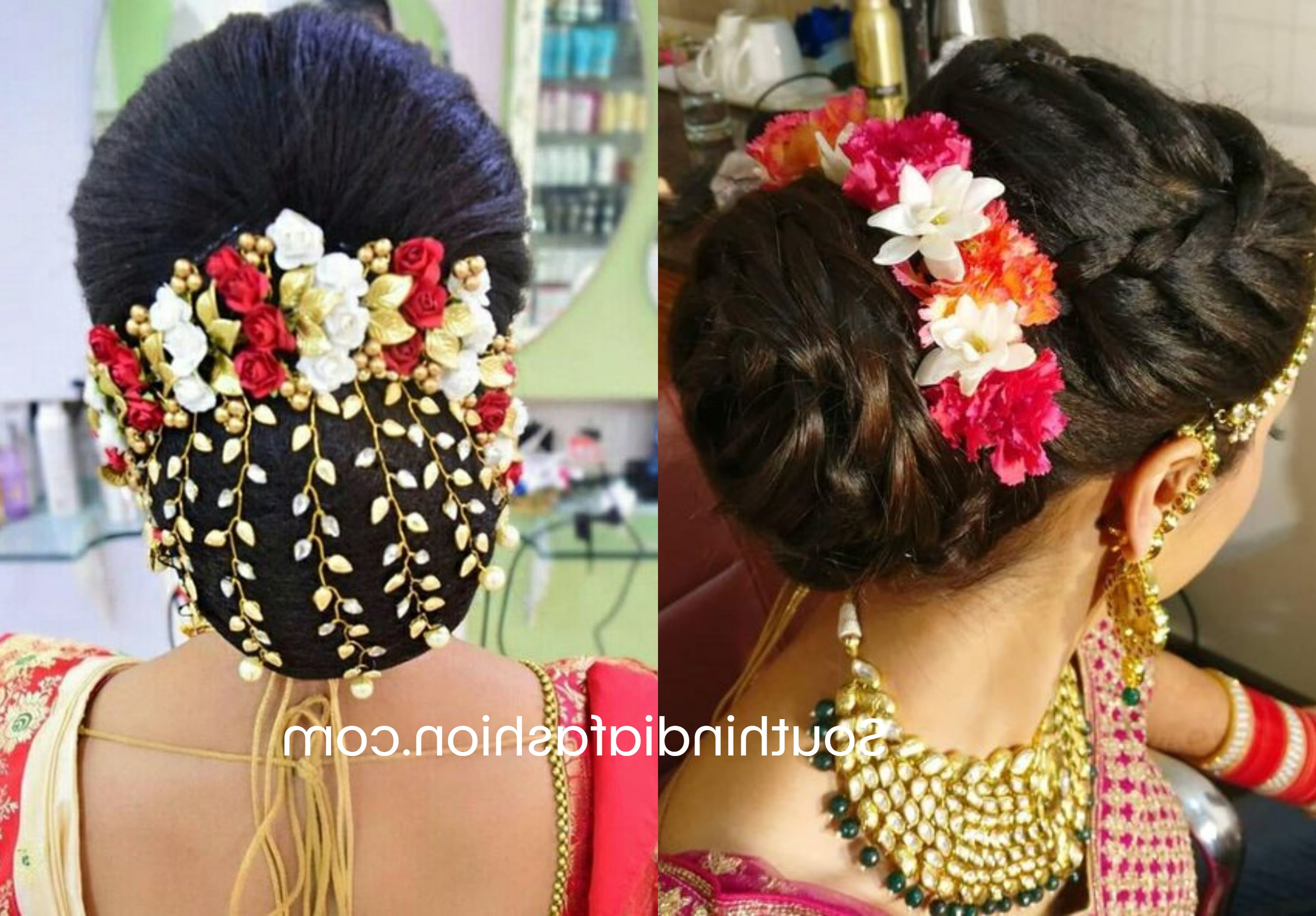 Trendy Side Bun Prom Hairstyles With Orchids With Indian Wedding Bun Hairstyle With Flowers And Gajra! (View 16 of 20)
