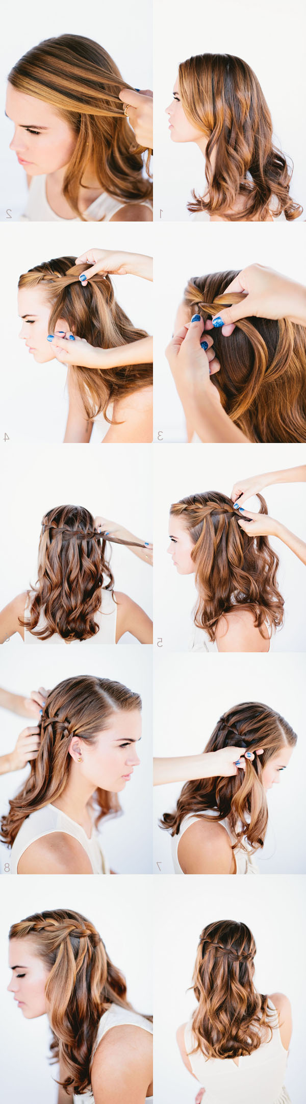 Waterfall Braid Wedding Hairstyles For Long Hair – Once Wed Pertaining To Most Recently Released Chic Waterfall Braid Prom Updos (View 16 of 20)