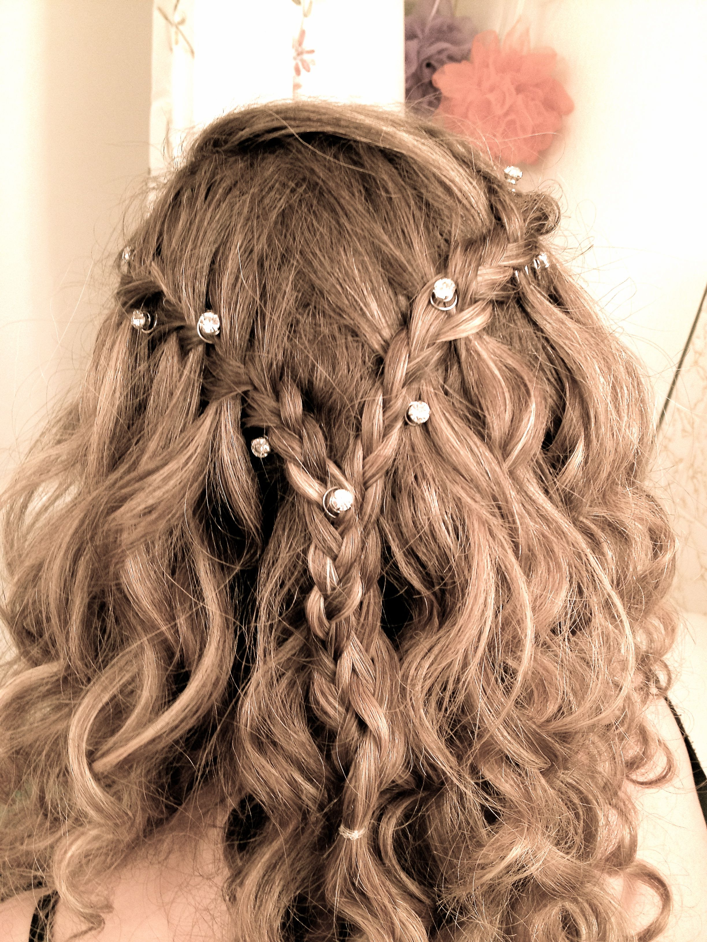 Waterfall Braid With Diamond Hair Pins. #love #waterfall #braid Intended For Widely Used Chic Waterfall Braid Prom Updos (Gallery 7 of 20)