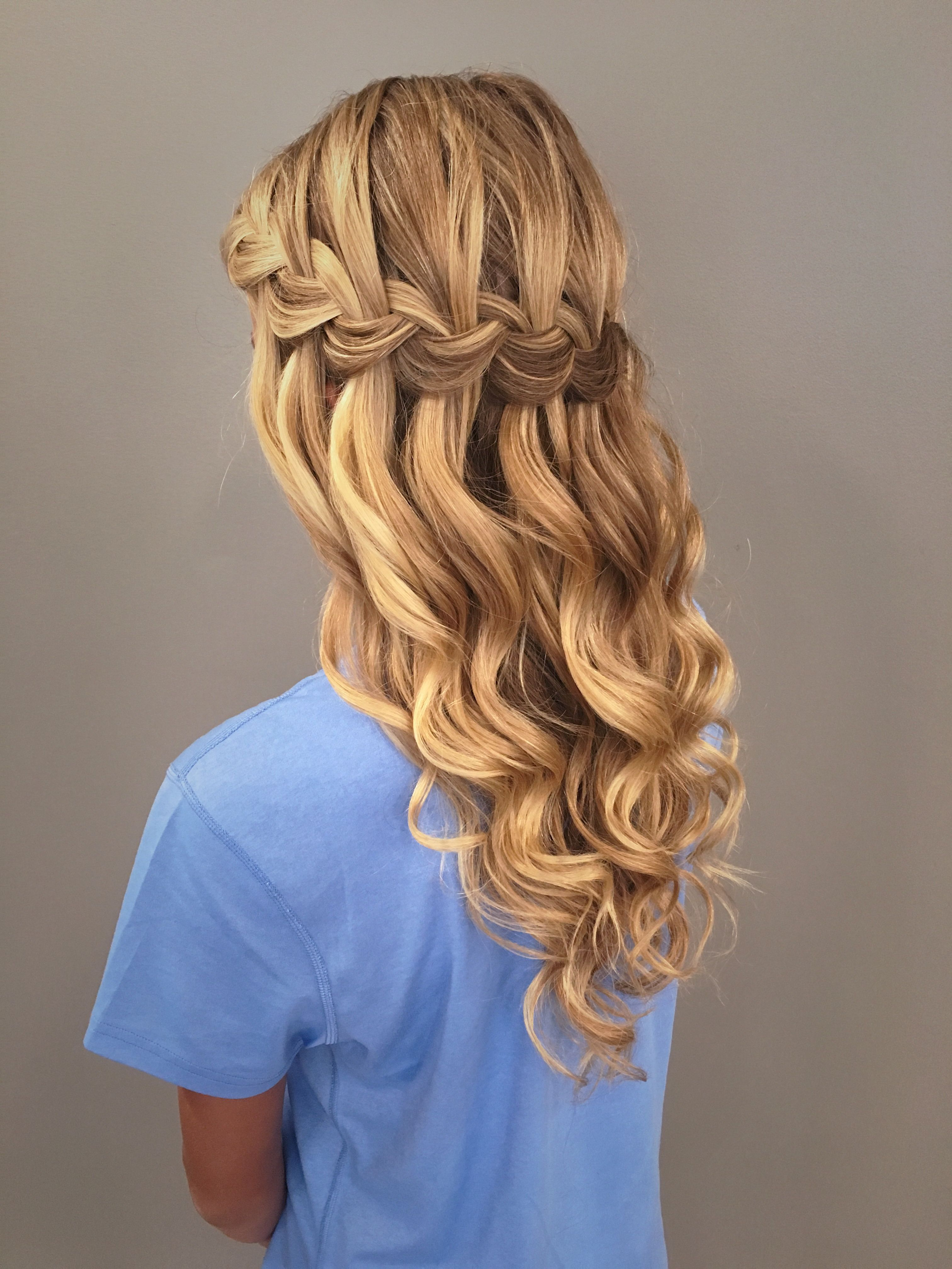 Waterfall Braid With Mermaid Waves! Great Bridal, Prom, Or Intended For Well Liked Half Prom Updos With Bangs And Braided Headband (Gallery 10 of 20)