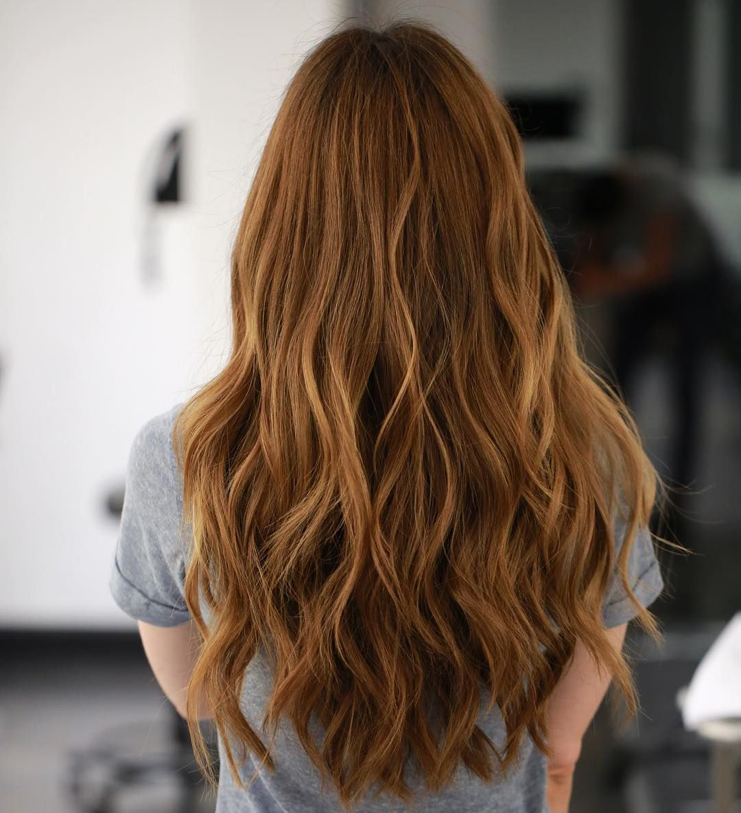 Wavy Long Ginger Red Hair With Short Layering (Gallery 16 of 20)