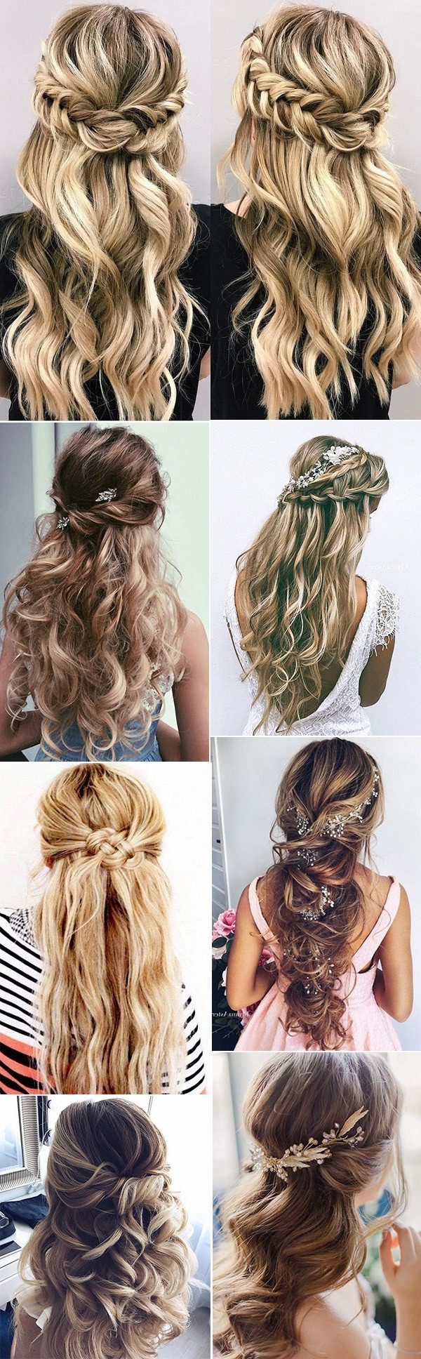 Wedding Hairstyle : Half Up Down Do Braid Curls Wedding Hairstyles With Best And Newest Curly Half Updo With Ponytail Braids (Gallery 11 of 20)