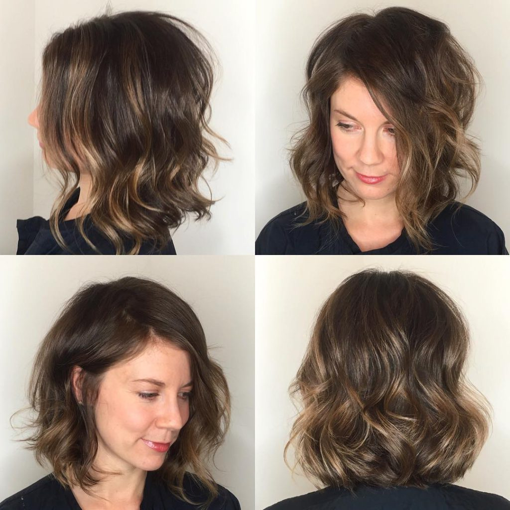 Well Known Waist Length Brunette Hairstyles With Textured Layers For Women's Angled Soft Layer Lob With Undone Wavy Texture And Subtle (Gallery 20 of 20)