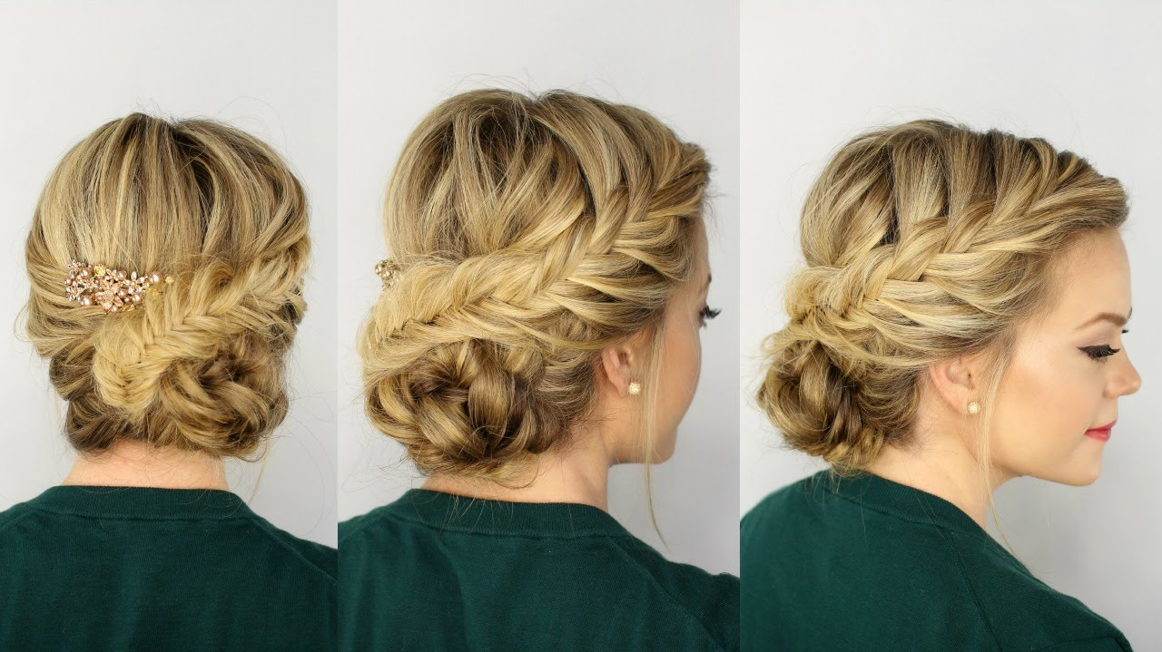Well Liked Diagonal Braid And Loose Bun Hairstyles For Prom With Regard To Fishtail Braided Updo (View 20 of 20)
