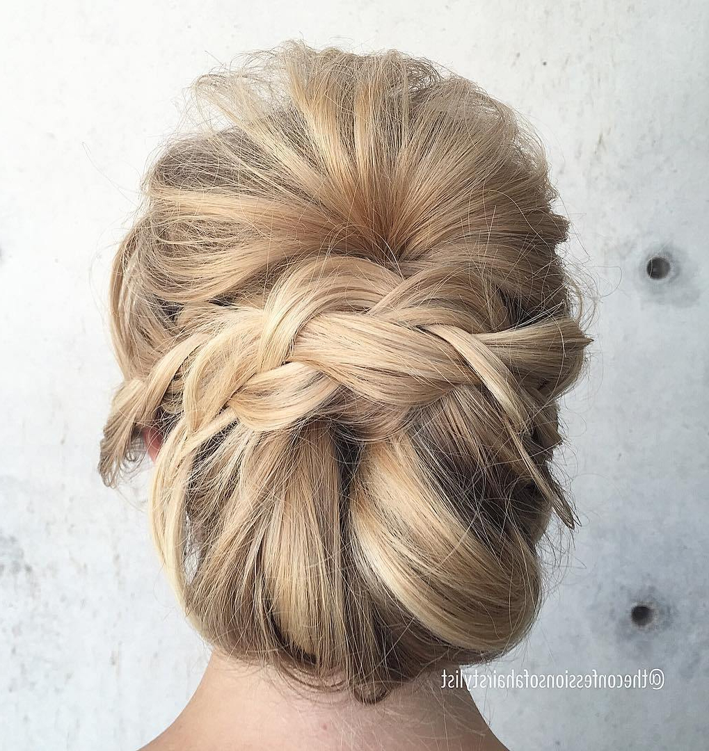 Well Liked Side Bun Twined Prom Hairstyles With A Braid Pertaining To Trubridal Wedding Blog (View 15 of 20)