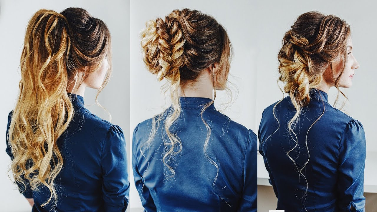 Widely Used Curly Half Updo With Ponytail Braids In 3 Easy Hairstyles: Prom Hair Half Up Ponytail Braided Bun Loose Side (Gallery 4 of 20)