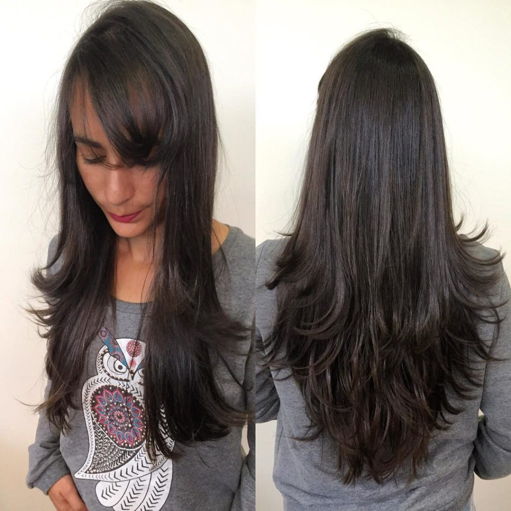 Women's Longhair With Short Razor Cut Layers And Side Swept Bangs On Inside Widely Used Swoopy Flipped Layers For Long Hairstyles (View 20 of 20)