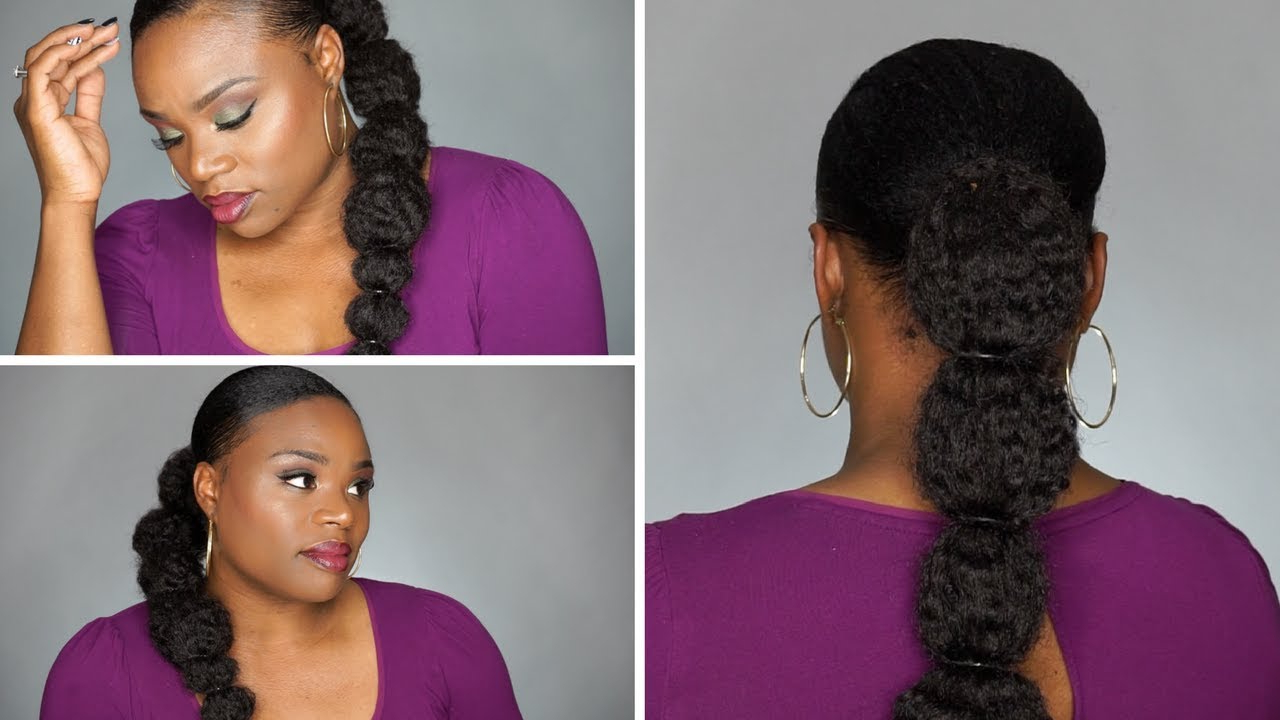 2017 Banded Ponytail Hairstyles Regarding Easy Bubble Ponytail On Natural Hair (Gallery 13 of 20)