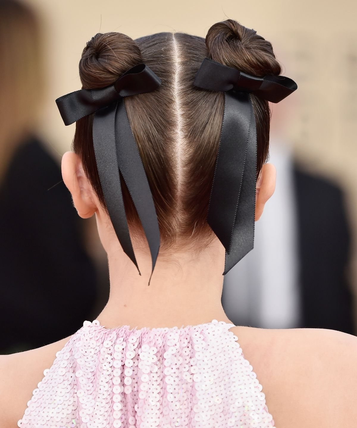 2018 Black Bow Ponytail Hairstyles Pertaining To Celebrities Love This Throwback Hair Bow Ribbon Trend (View 18 of 20)