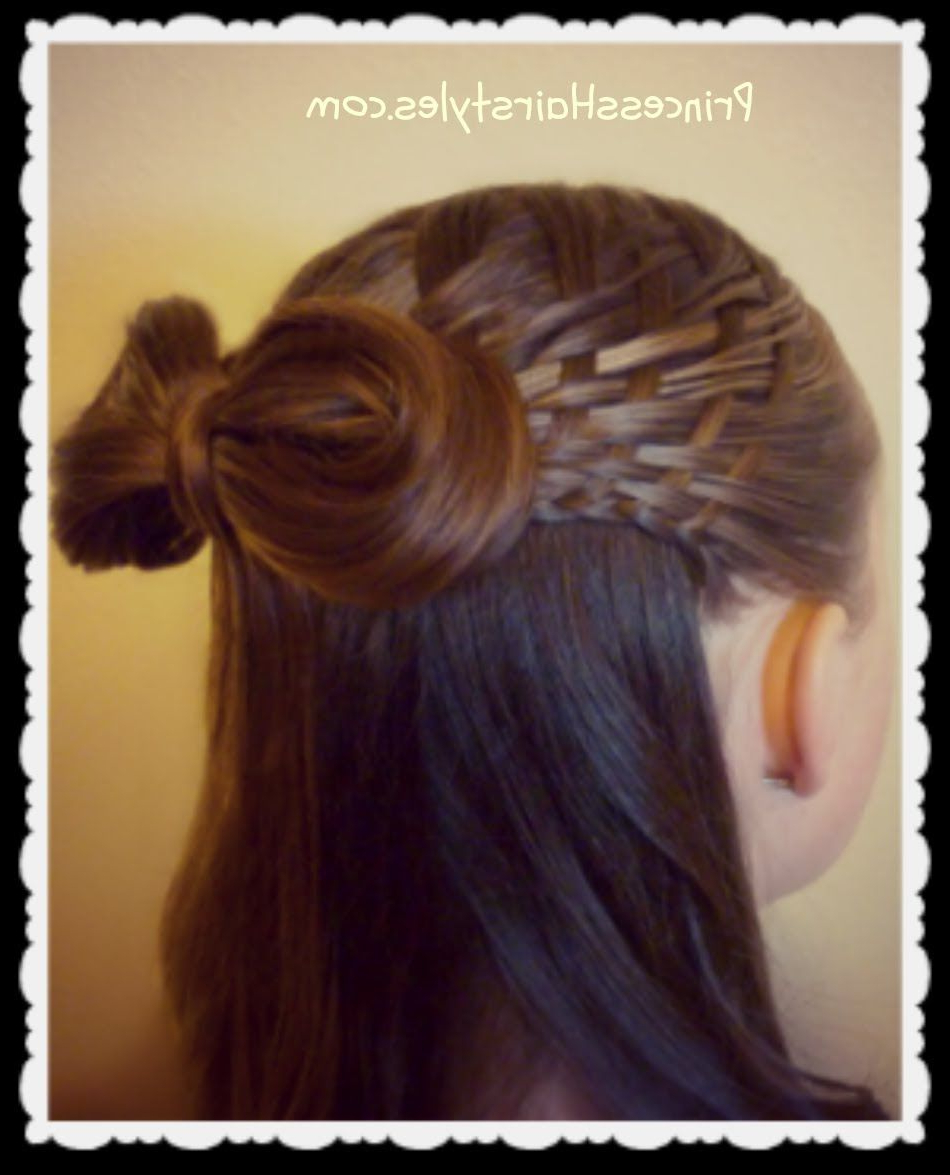 2018 Triple Weaving Ponytail Hairstyles With A Bow Within Woven Half Up Hairstyle With Hair Bow, Hair4Myprincess (Gallery 18 of 20)