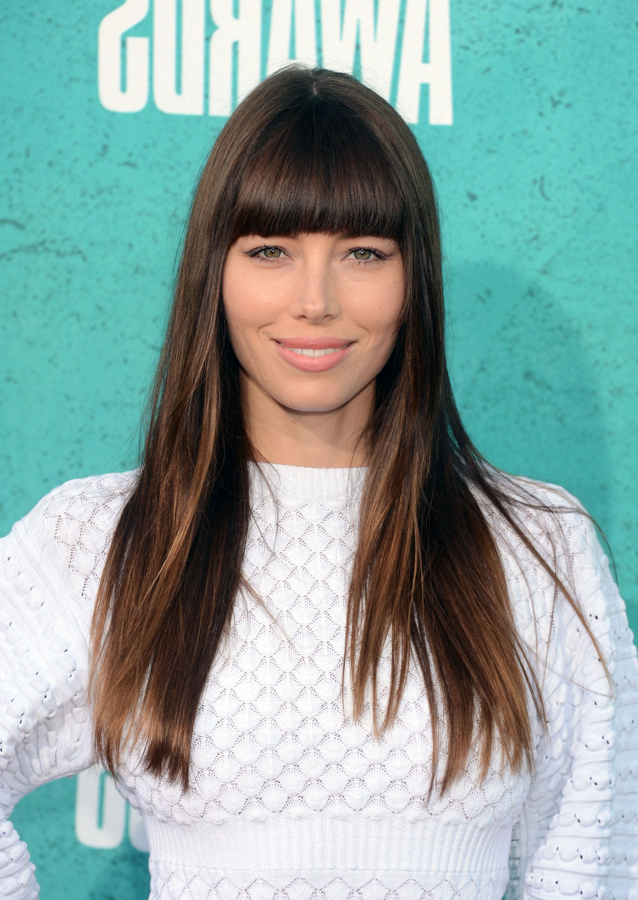 35 Best Hairstyles With Bangs – Photos Of Celebrity Haircuts With Bangs Inside Most Up To Date Long Hair And Blunt Bangs Hairstyles (View 3 of 20)