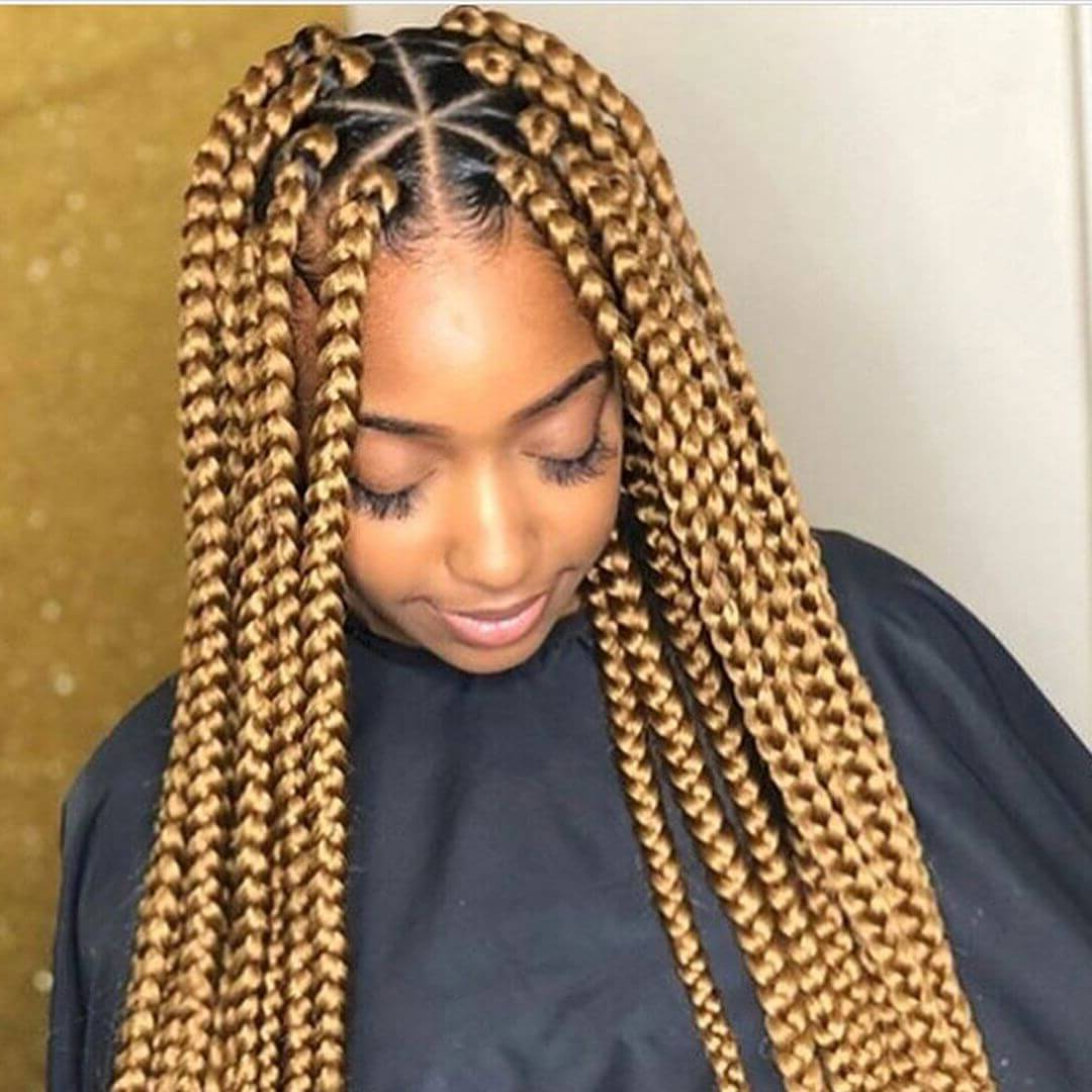 37 Unique Triangle Box Braids Hairstyles 2019 Funky For Black Women Within 2018 Braids And Gold Ponytail Hairstyles (View 2 of 20)