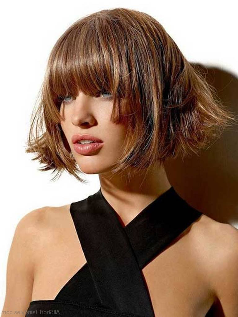 57 Cool Short Bob Hairstyle With Side Swept Bands With Popular Cute Chopped Bob Hairstyles With Swoopy Bangs (View 16 of 20)