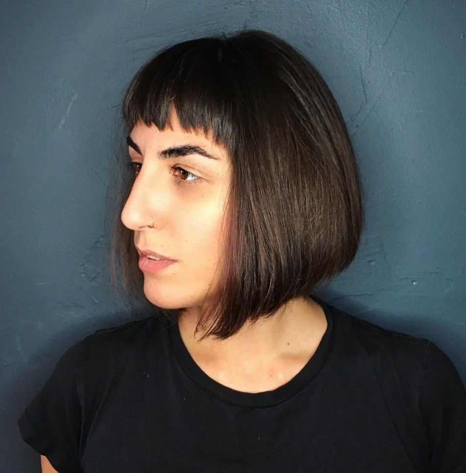 Featured Photo of Sleek Bob Hairstyles With Cropped Jagged Bangs