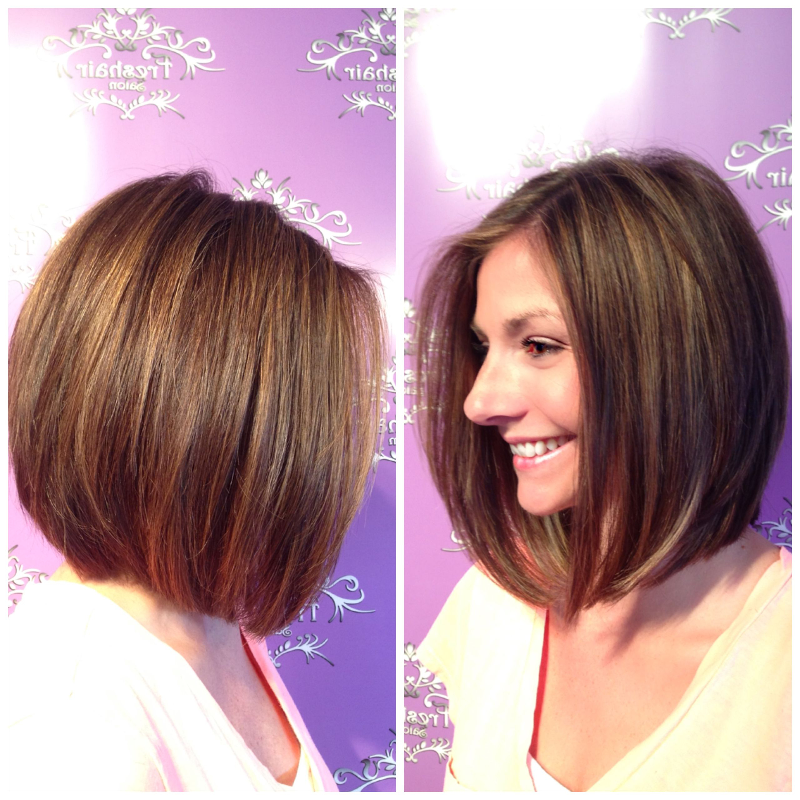 A Line Bob With Golden Highlights And Lowlights (View 9 of 20)