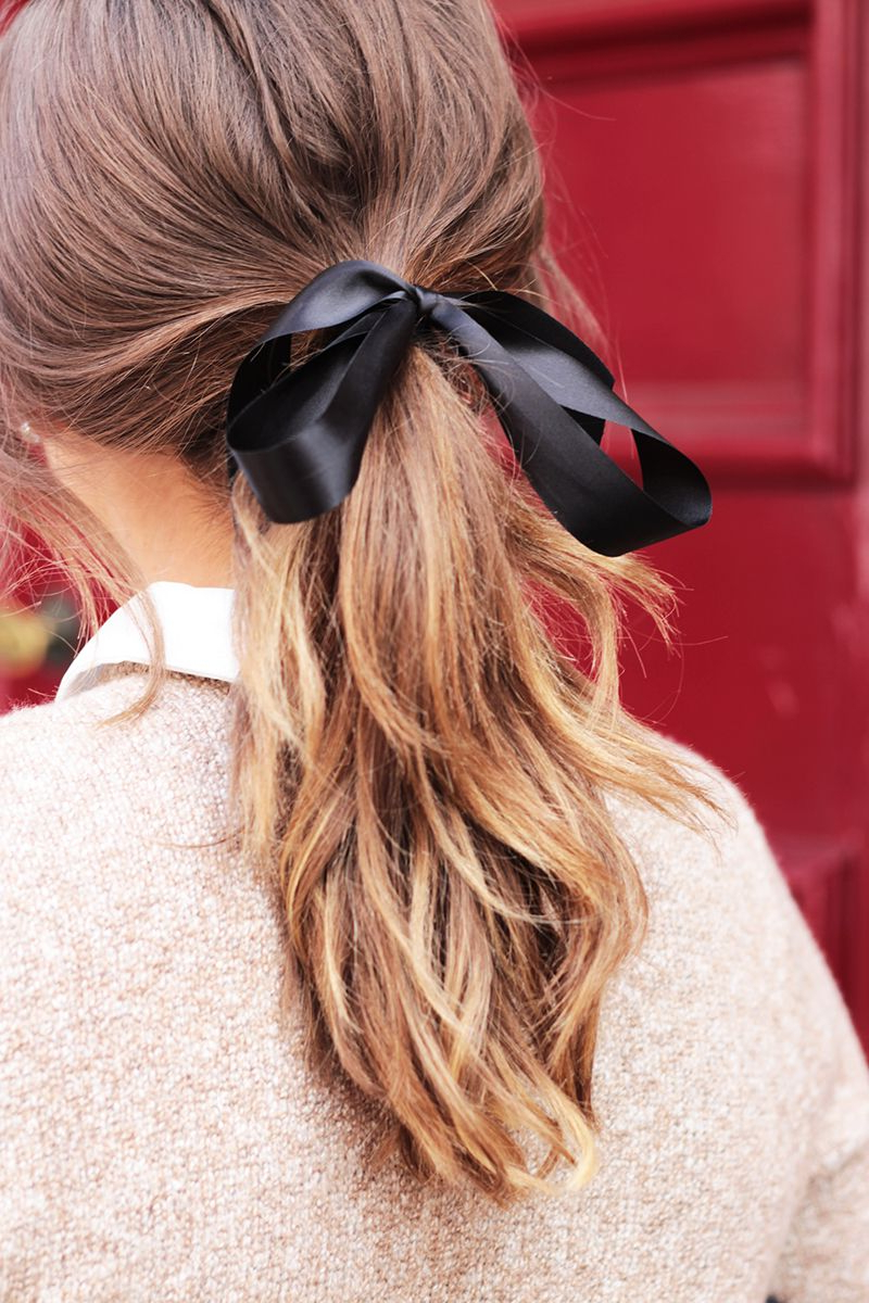 Featured Photo of Black Bow Ponytail Hairstyles