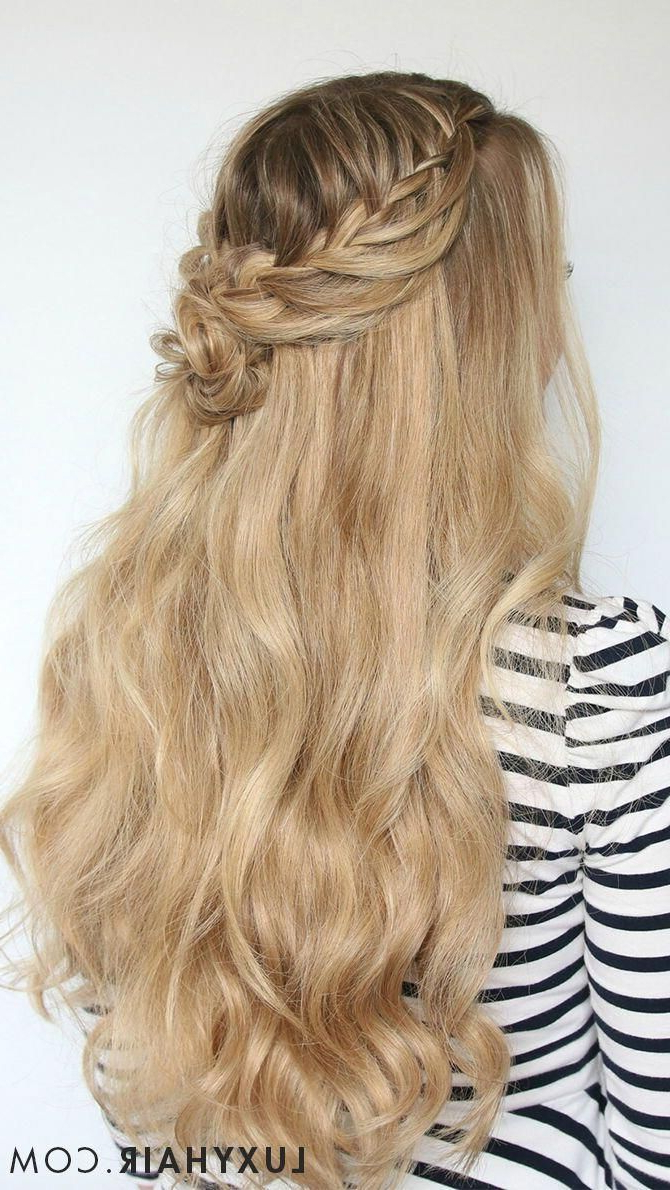 Beautiful Waterfall Braid With Rose Accent Using Luxy Hair Pertaining To Preferred Blonde Accent Braid Hairstyles (View 5 of 20)