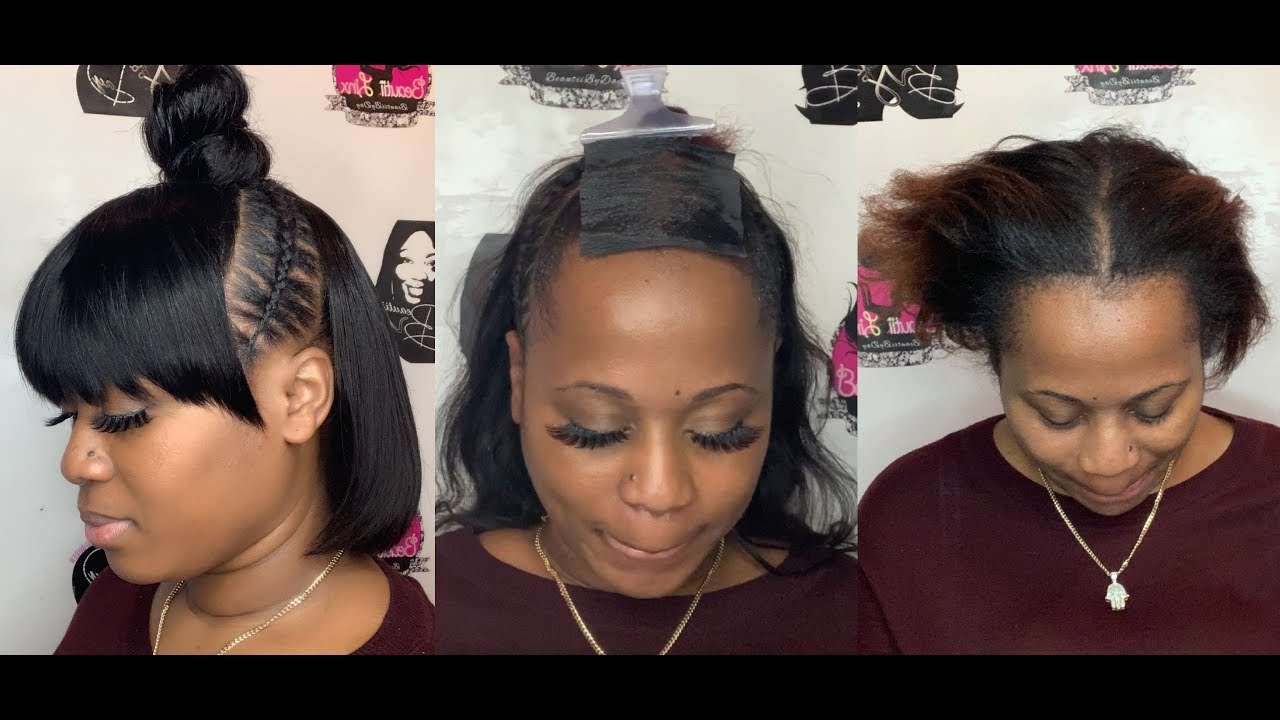 Bob + Stitch Braids + Bun + Bangs All In One Intended For Newest Stitched Thread Ponytail Hairstyles (View 6 of 20)