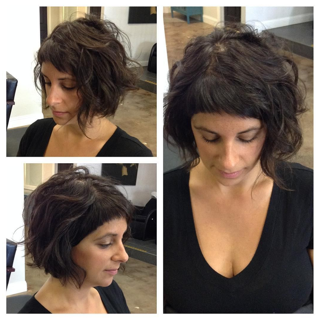Brunette Wavy Messy Textured Bob With Baby Bangs Intended For Most Up To Date Cute Bangs And Messy Texture Hairstyles (View 2 of 20)