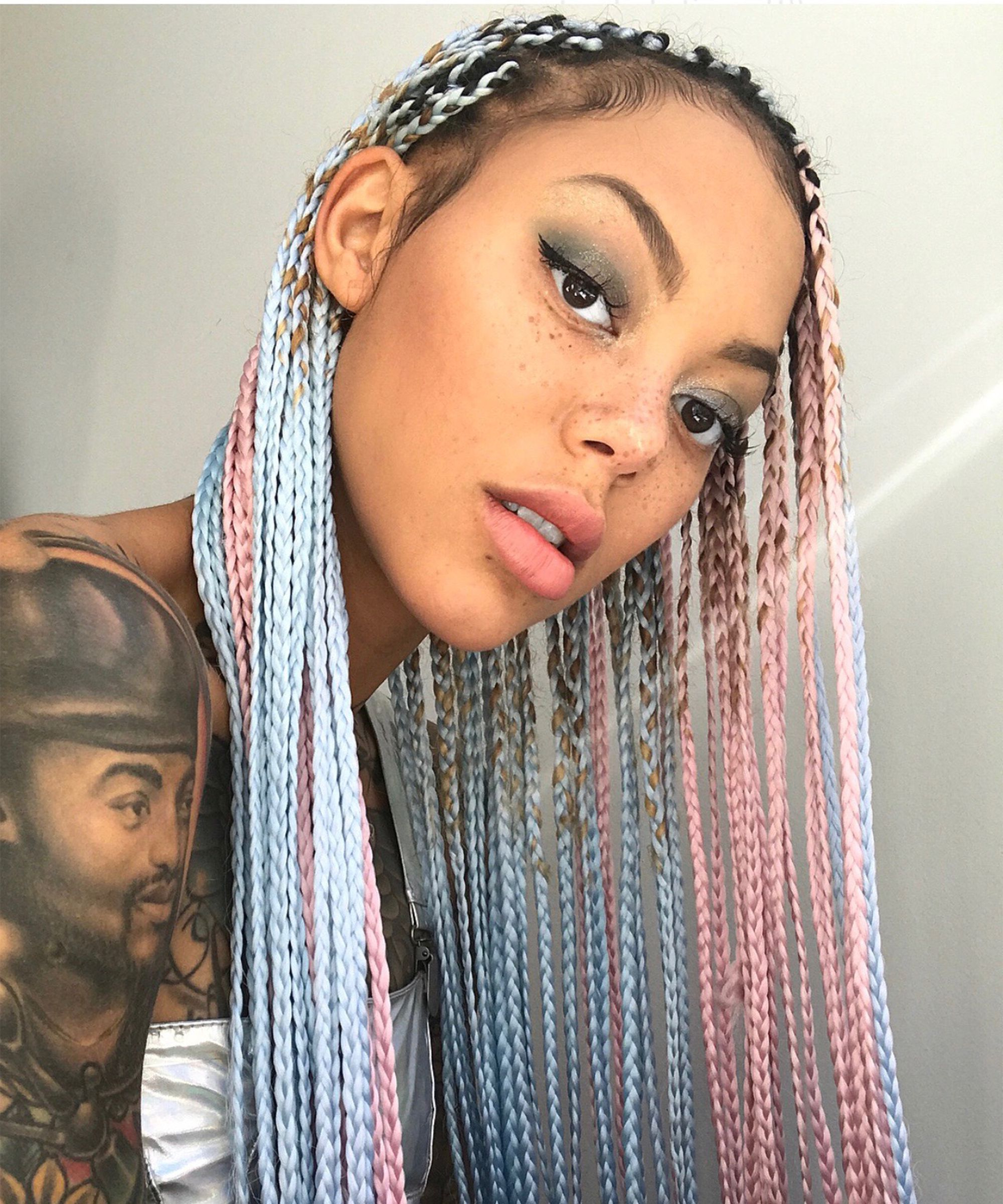 Colourful Box Braid Ideas, Grey, Red, Pink And Blonde In Recent Blonde Accent Braid Hairstyles (View 13 of 20)