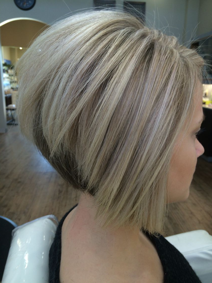 Cool Blonde Color And Sharp Inverted Bob I Created (View 4 of 20)
