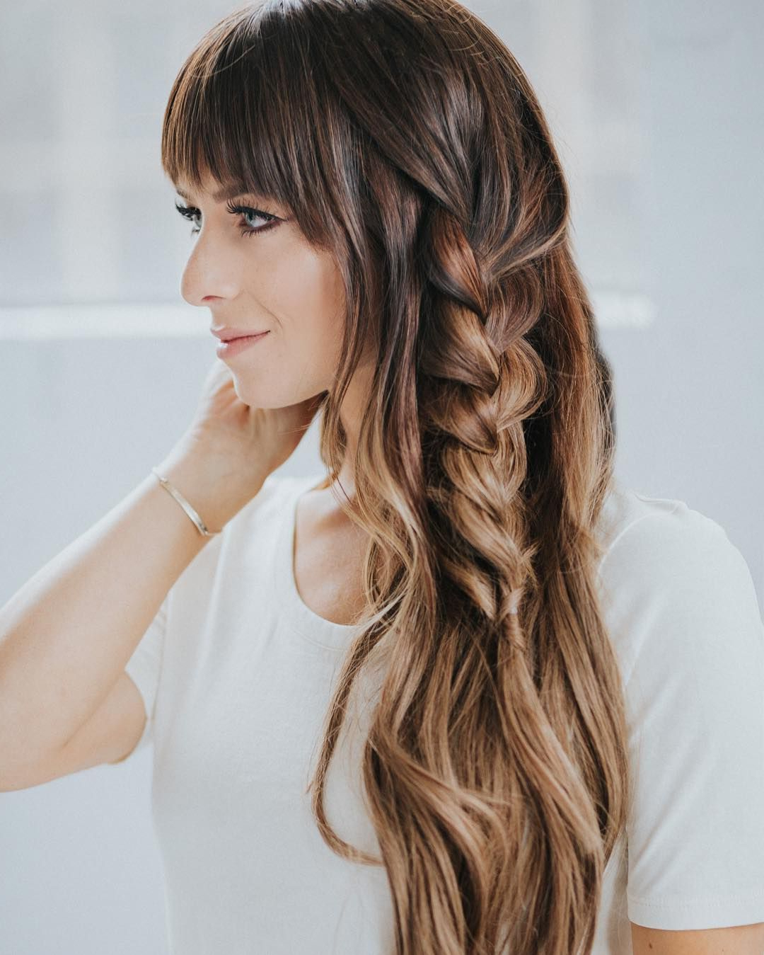 Current Blonde Accent Braid Hairstyles Throughout Accent Braid Braided Hairstyles Ombre Hair Brunette Hair Color (View 8 of 20)