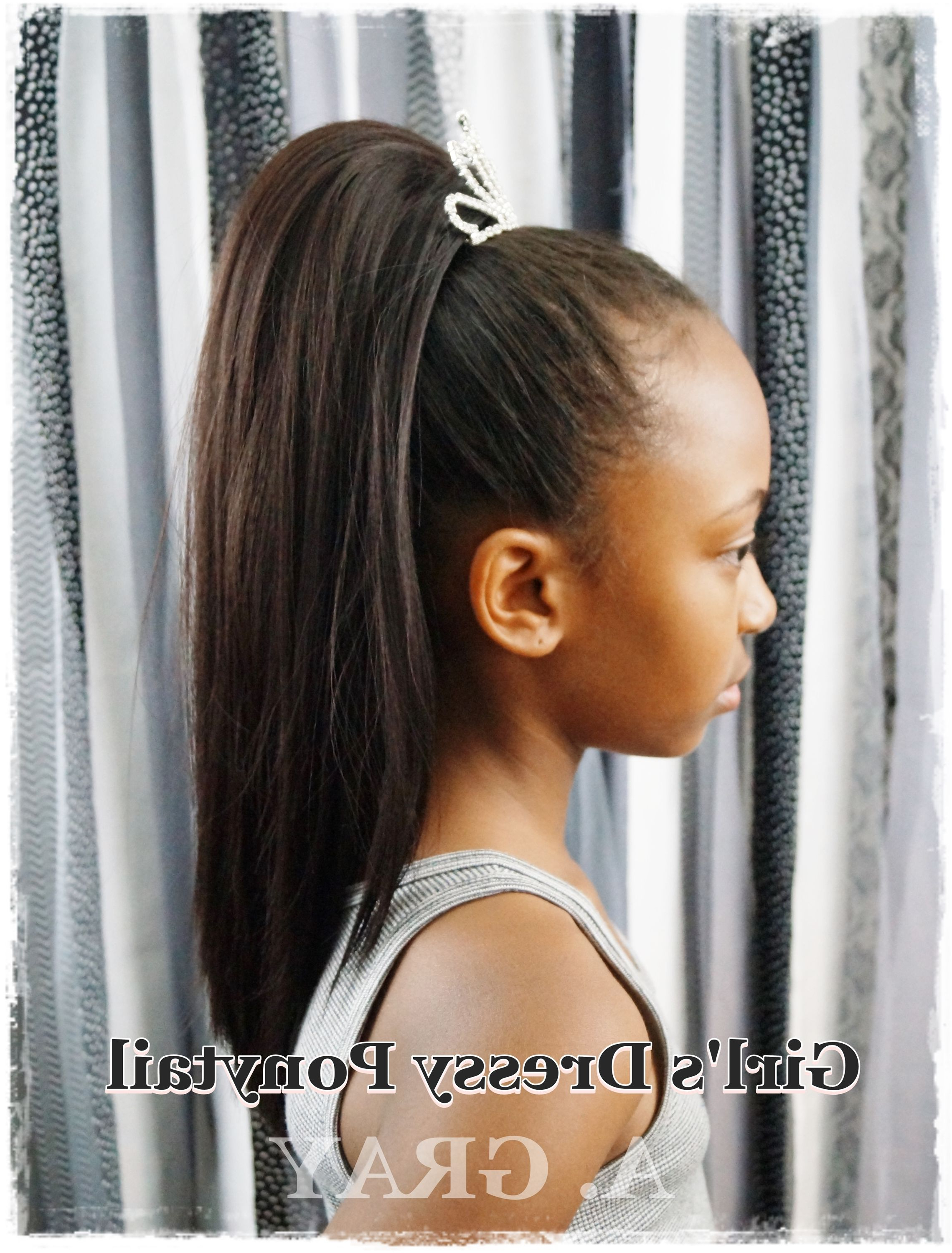 Diy Black African American Girl's Wedding Dressy Drawstring Straight Intended For Well Known Pearl Crown Ponytail Hairstyles (Gallery 9 of 20)
