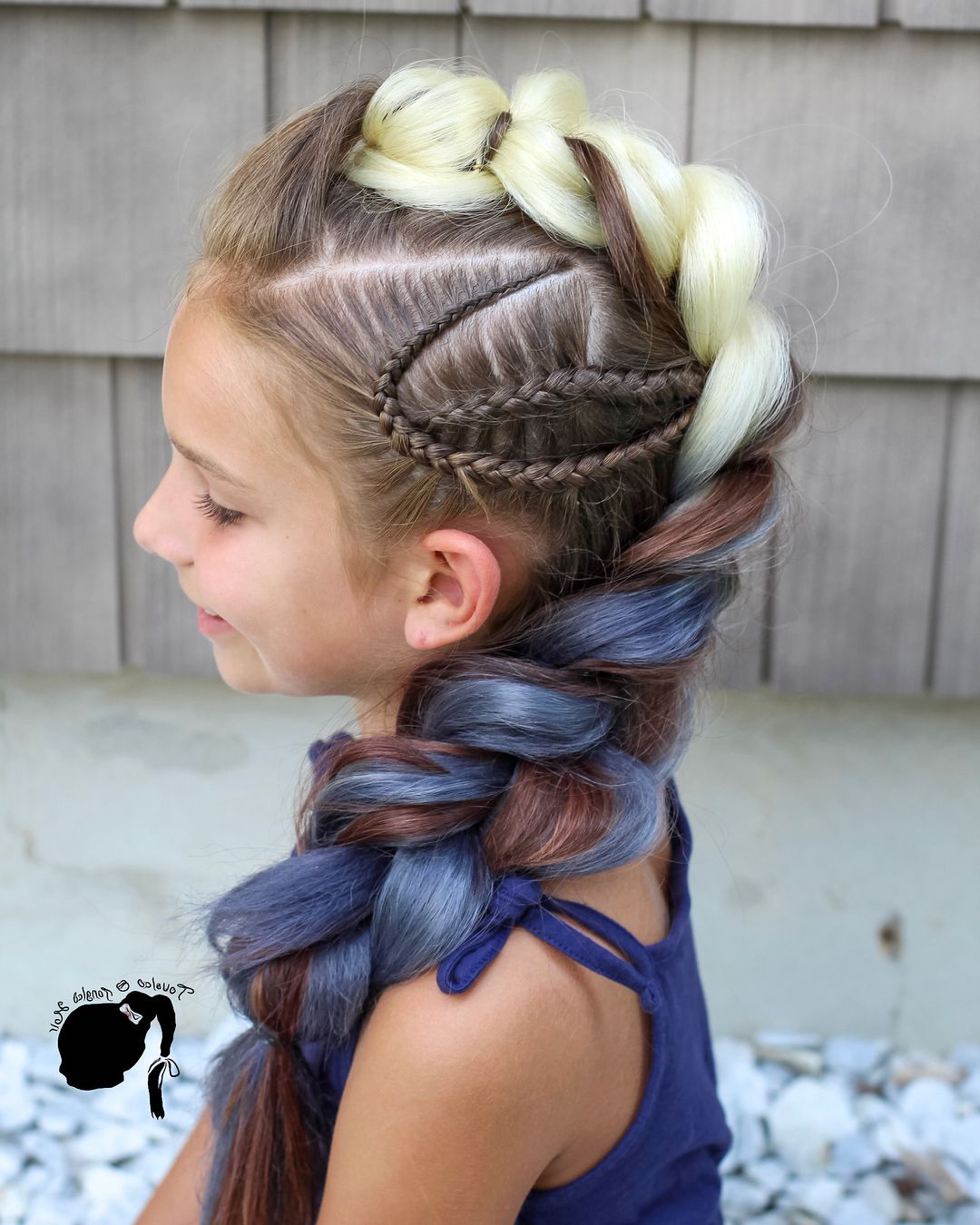 Dutch Braid With Accent Braids #braids #hairstyles #kids #extensions Pertaining To Most Recently Released Blonde Accent Braid Hairstyles (View 7 of 20)