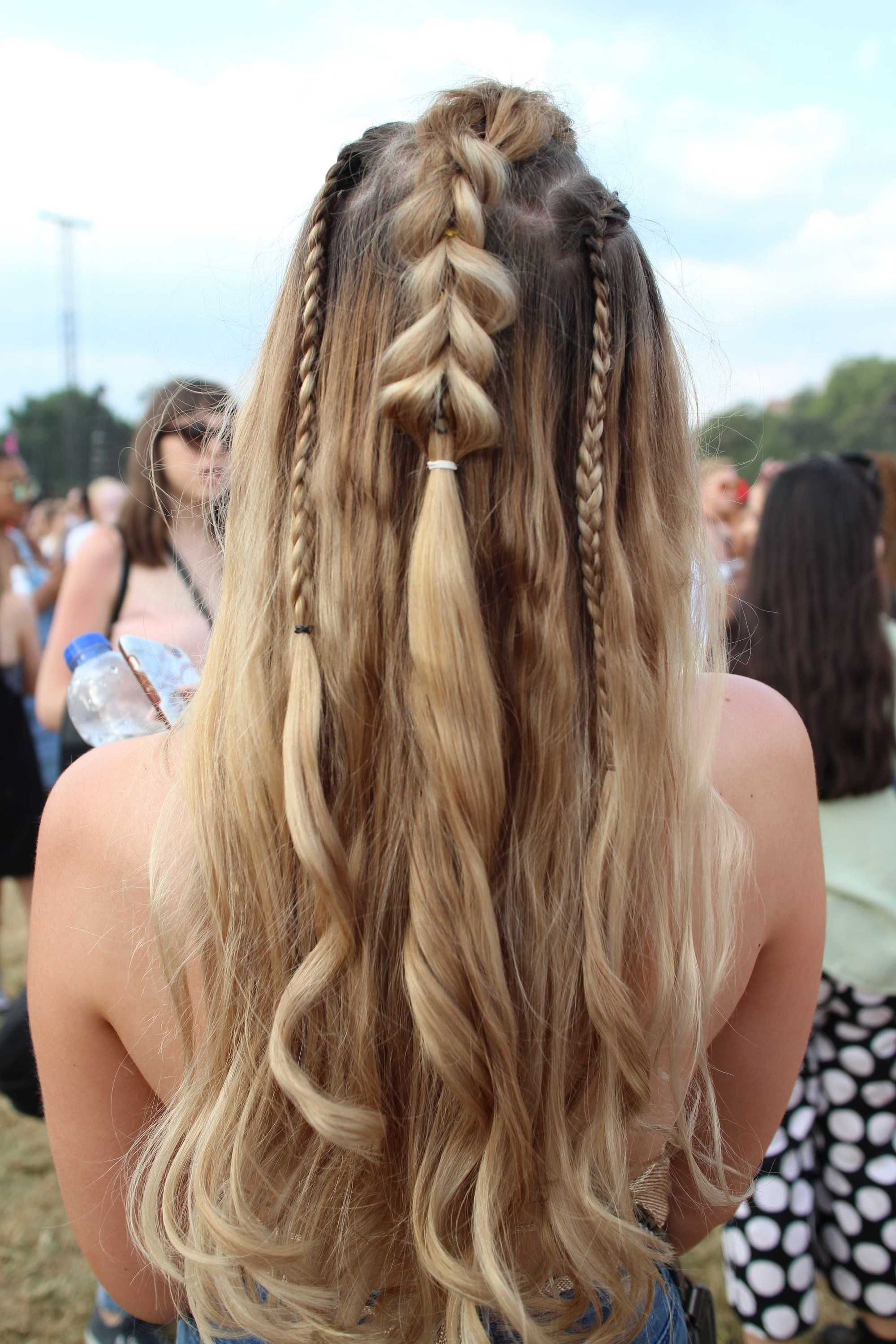 Fashionable Blonde Accent Braid Hairstyles Intended For Back View Of A Woman At Lovebox Festival With Dirty Blonde Long Hair (View 2 of 20)