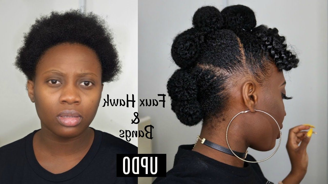 Faux Hawk Updo With Afro Bangs On Short Natural  Hair Tutorial (View 8 of 20)