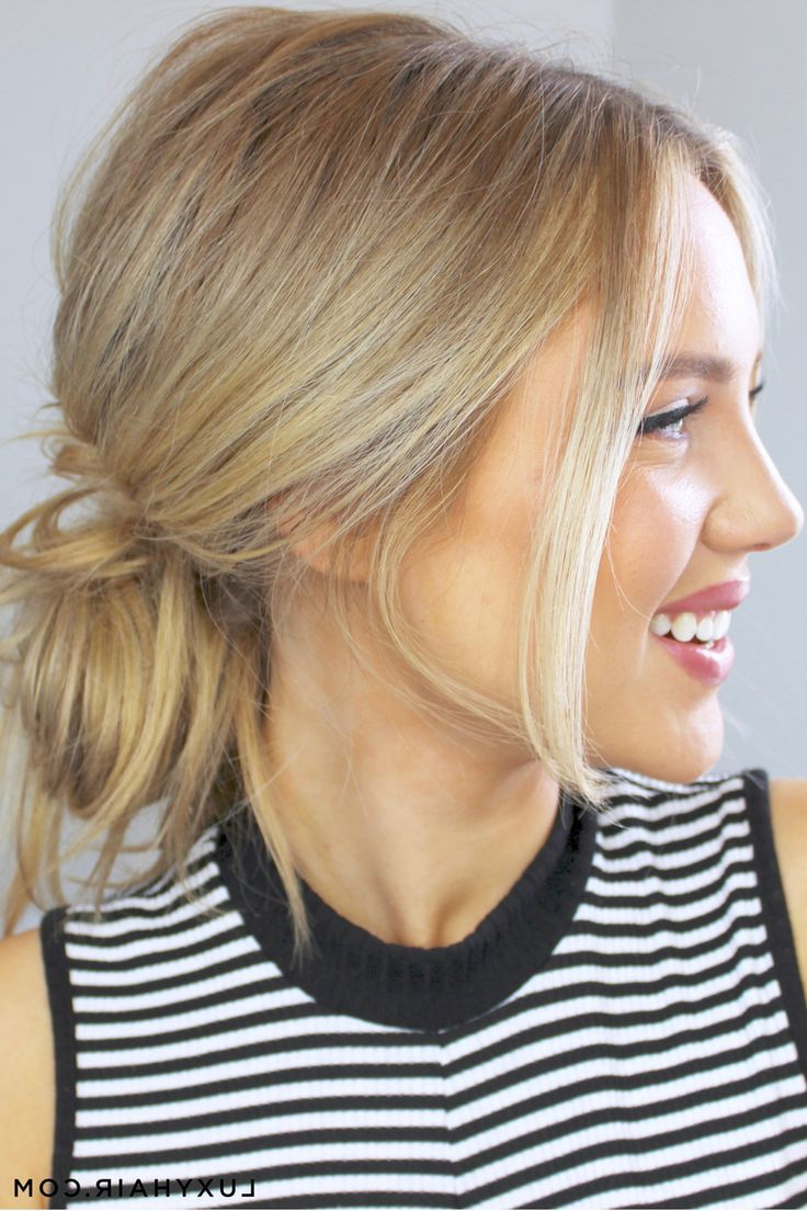 Favorite Classy Low Bun Hairstyles For Big Foreheads In 3 Cute & Easy Messy Buns (View 8 of 20)