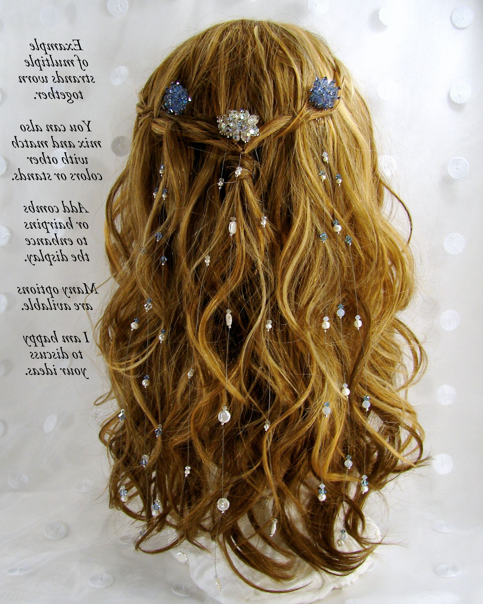 Hair Extensions Swarovski Crystals Freshwater Pearls Bohemian Intended For 2018 Graded Ponytail Hairstyles With A Butterfly Clasp (View 7 of 20)