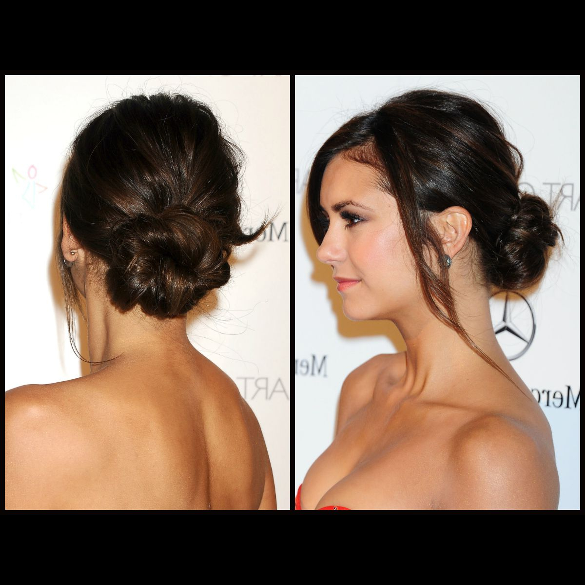 Hairstyle Tutorial: Nina Dobrev's Chic 10 Minute Low Bun! Inside Current Classy Low Bun Hairstyles For Big Foreheads (Gallery 11 of 20)