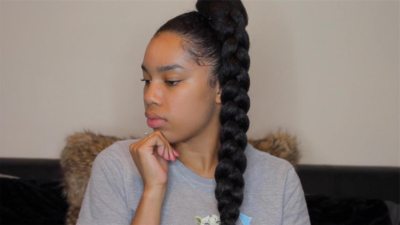 Jumbo Braid Ponytail With Kanekalon Hair Intended For Best And Newest Triple Weaving Ponytail Hairstyles With A Bow (View 15 of 20)